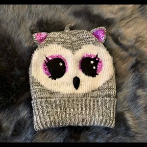 Claire's Owl Beanie Kids Adults One Size Gray